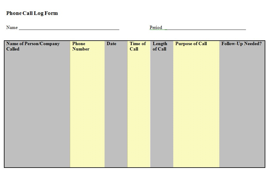 Phone Call Log Form Doc Format Template