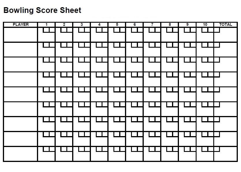Printable Bowling Score Sheet