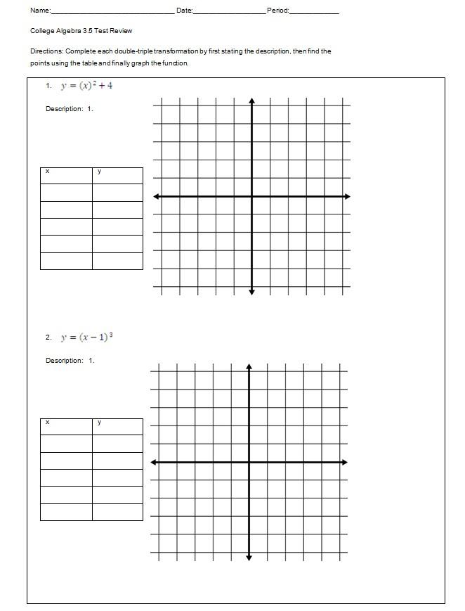 Printable College Algebra Worksheet