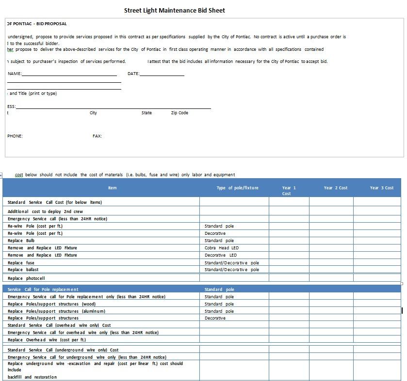 Street Light Maintenance Bid Sheet PDF