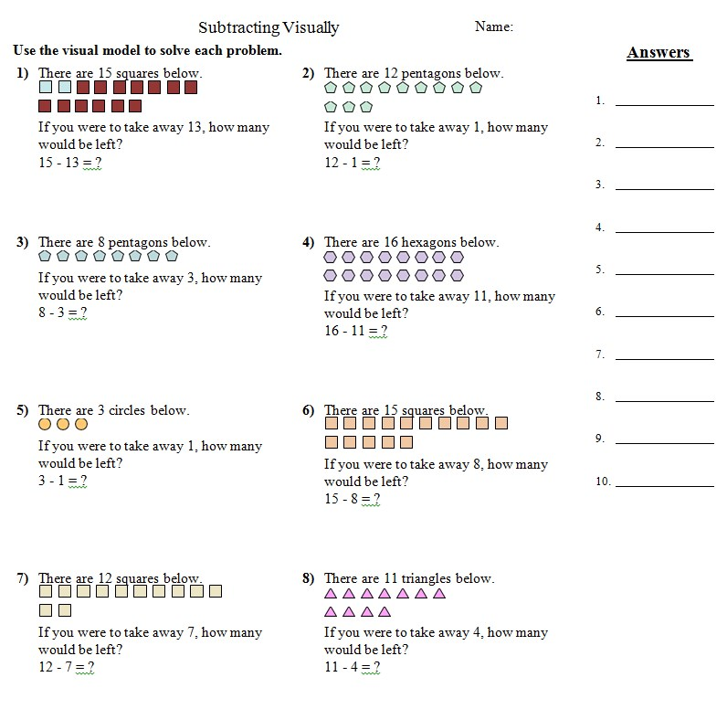 Subtracting Visually Common Core Practice Sheets