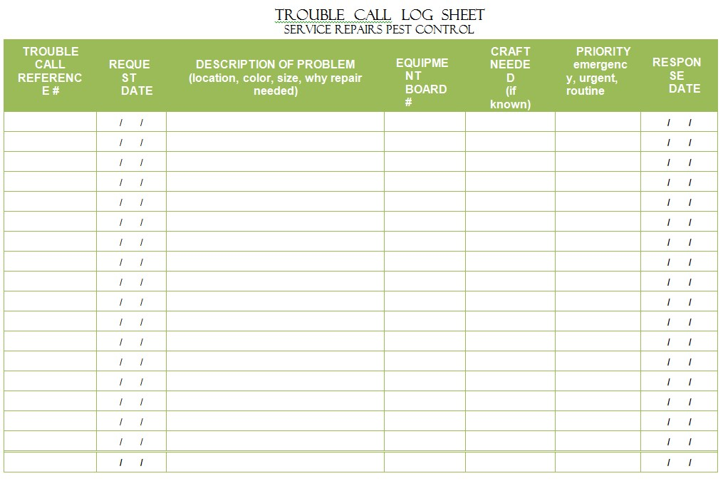 Trouble Call Log Sheet Template
