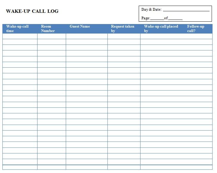 Wake Up Call Log Sheet Template