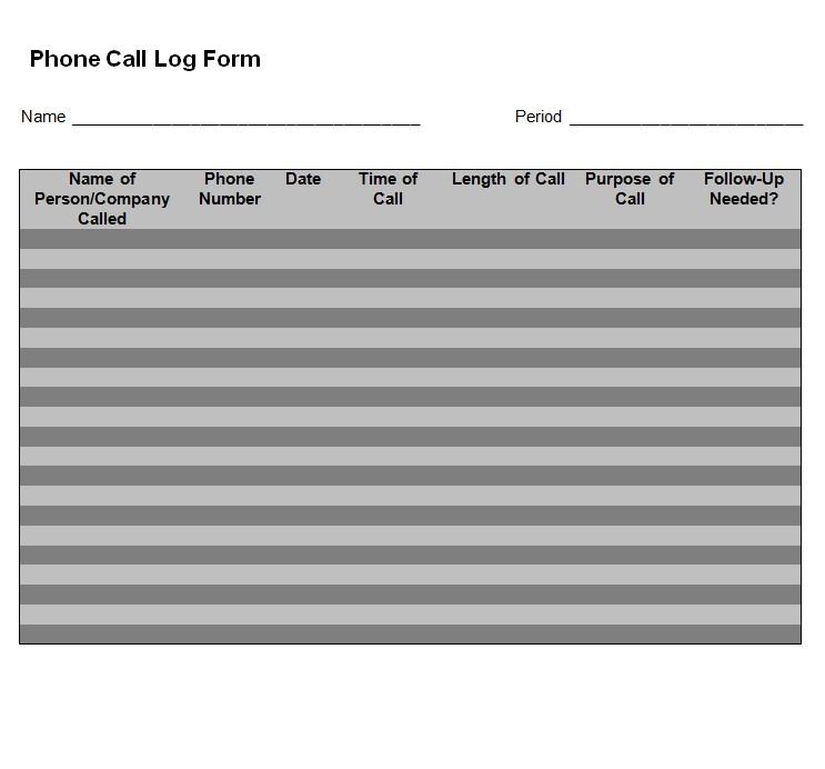 phone call log form 2
