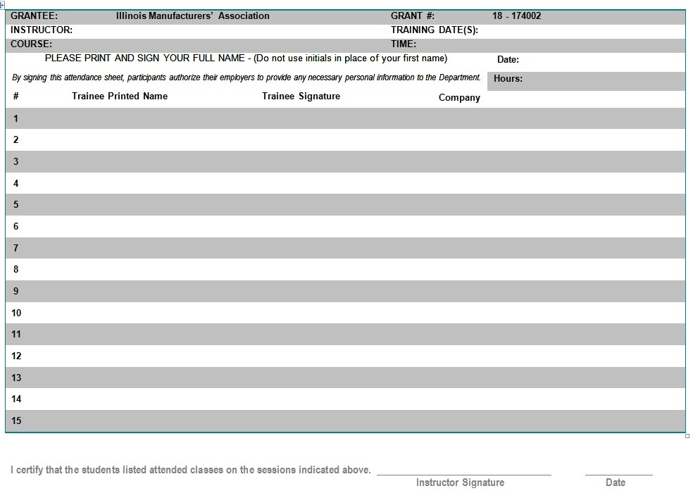 Basic Company Sign In Sheet Template