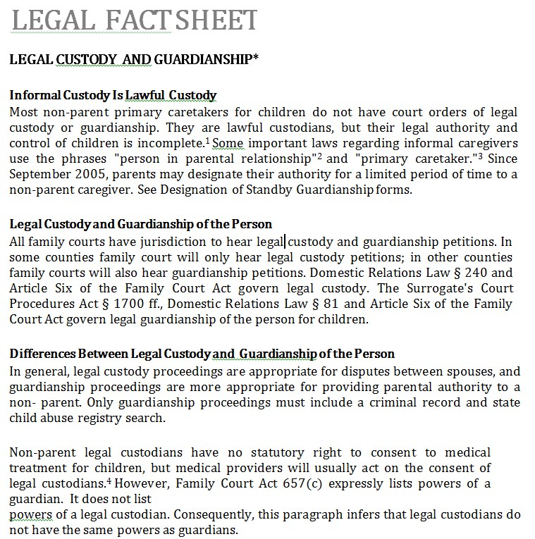 Basic Legal Fact Sheet
