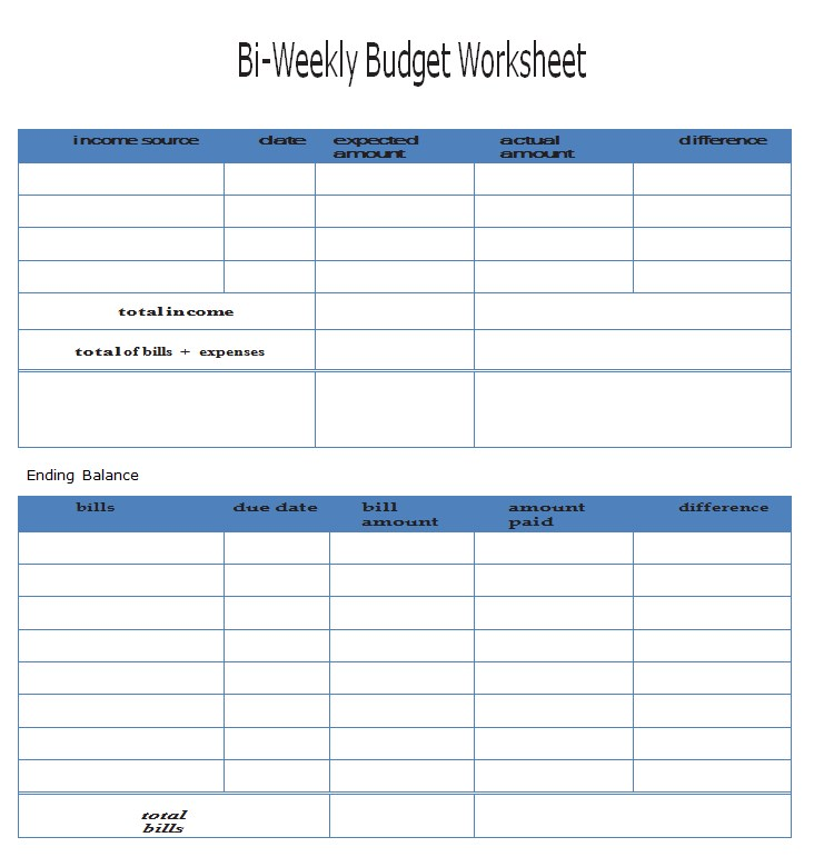 Bi Weekly Expense Sheet