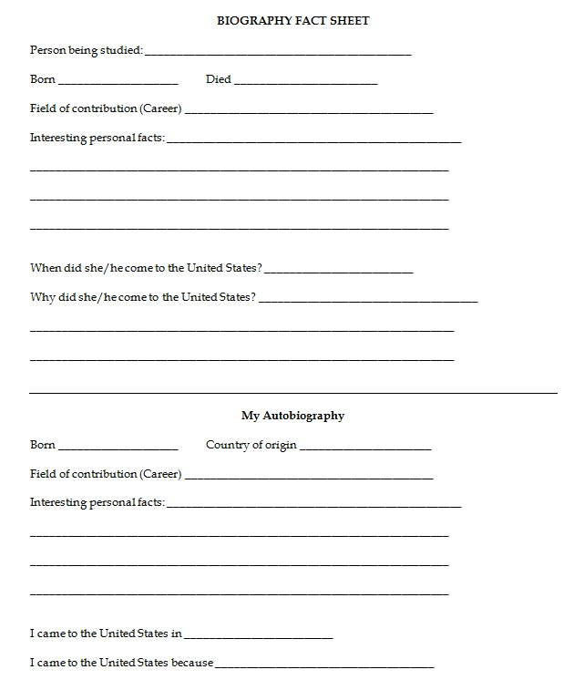 Biography Fact Sheet Template