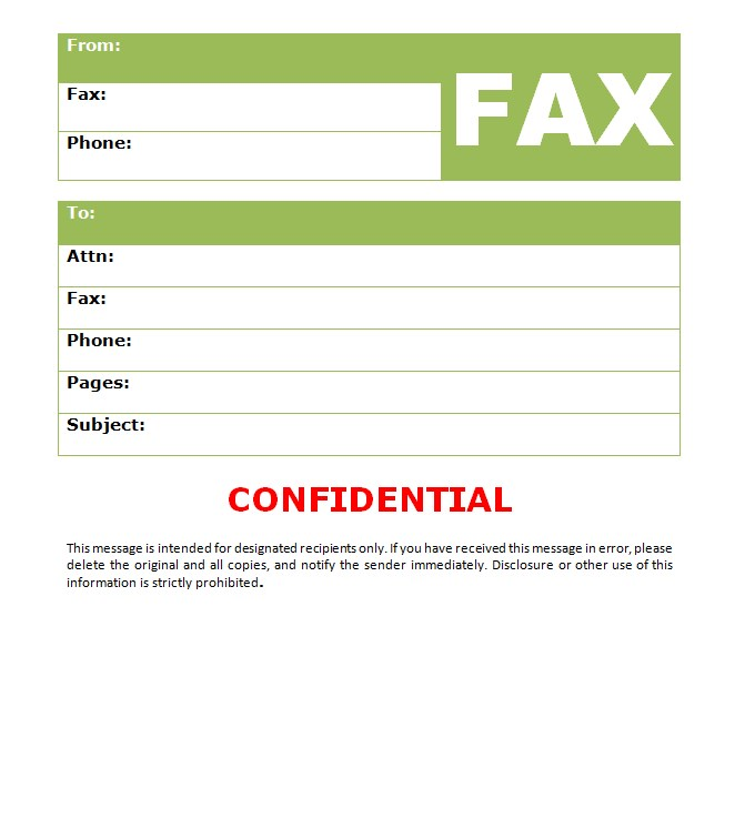 Blank Health Confidential Fax Template Word Format