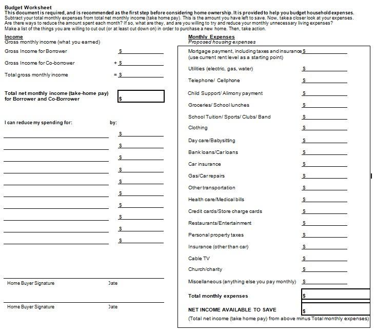 Blank Home Budget Worksheet