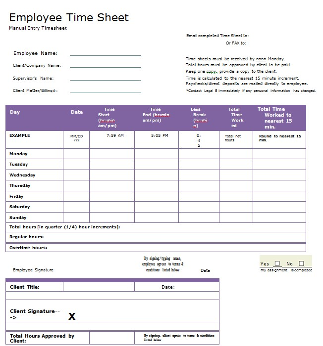 Blank Timesheet Template in PDF