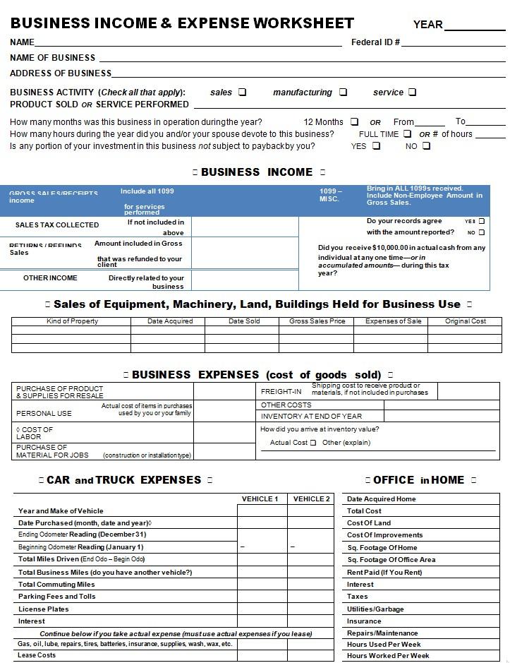 Business Plan Expense Sheet