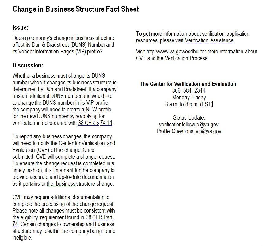 Business Structure Fact Sheet