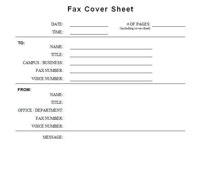 CSUSB Generic Fax Cover Sheet Template Word
