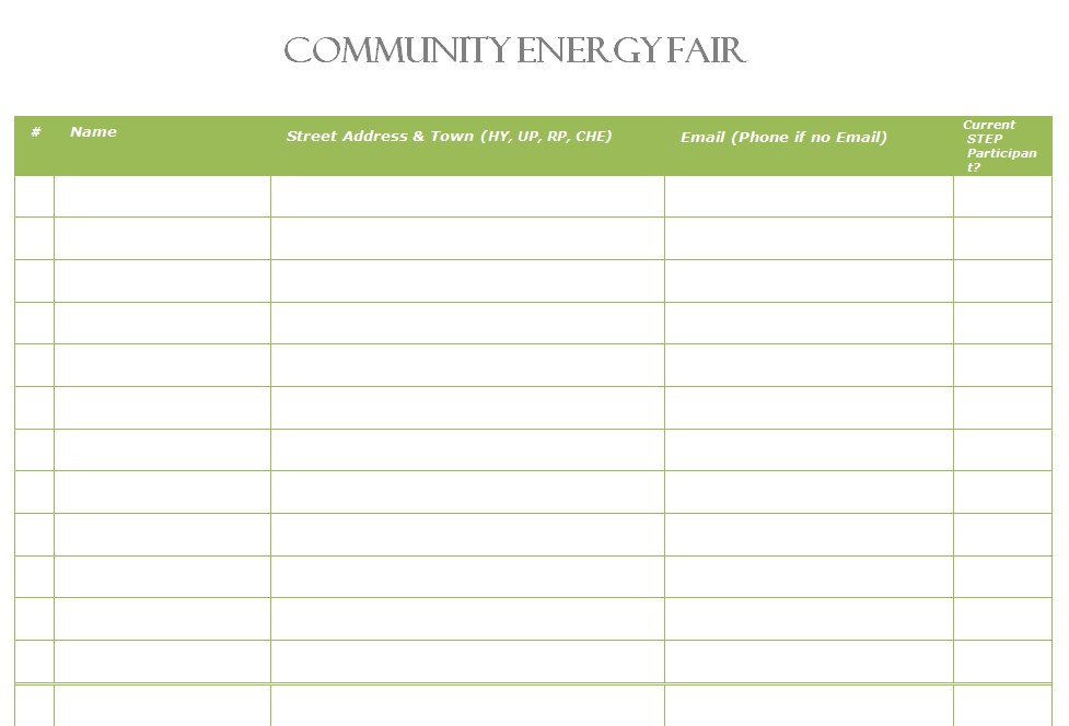 Community Energy Fair Event Sign in Sheet