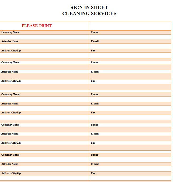Company Cleaning Service Sign in Sheet