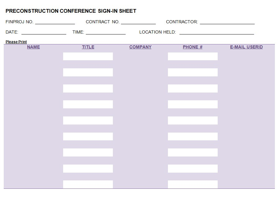 Company Conference Sign In Sheet Template