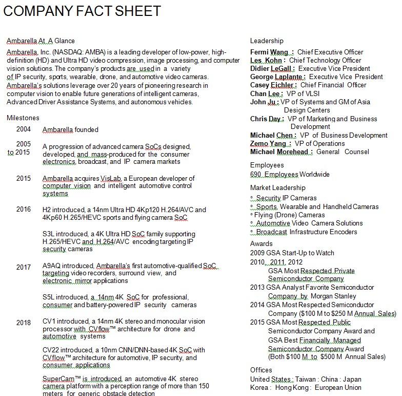 Company Timeline Fact Sheet