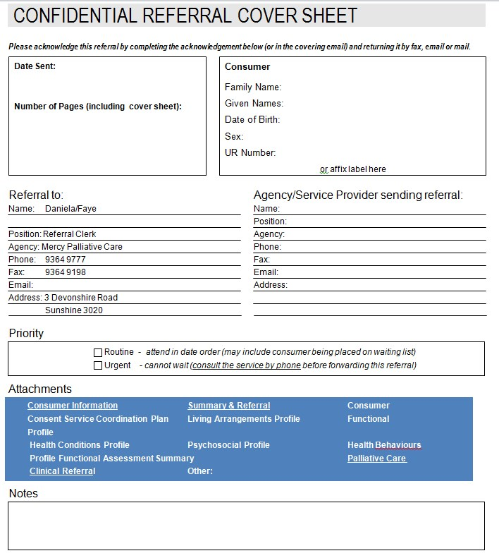 Confidential Referal Cover Sheet