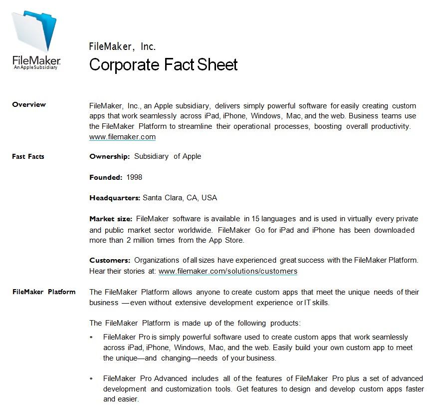 Corporate Fact Sheet Template