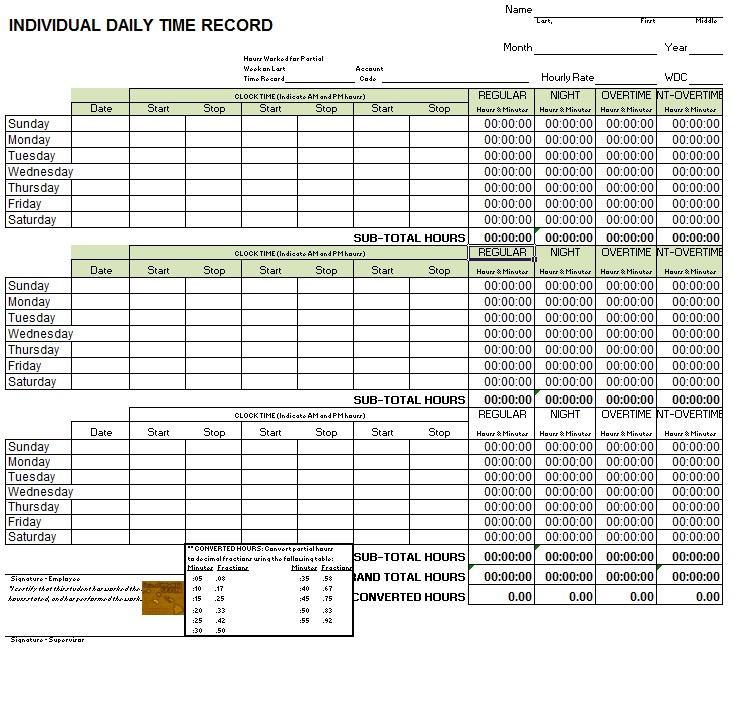 Daily Timesheet Template in Excel Format
