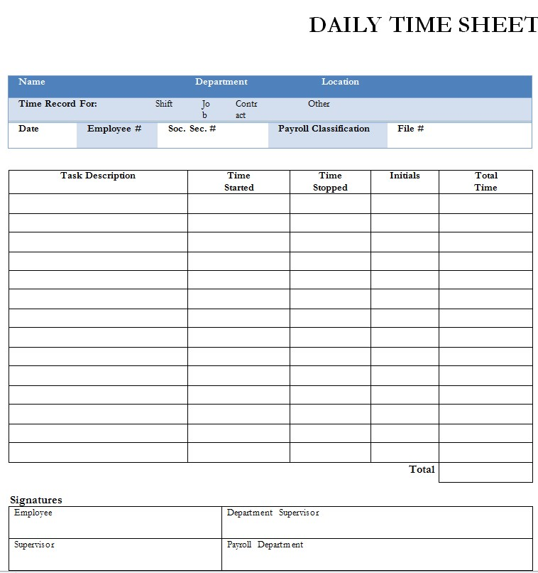 Daily Timesheet in PDF