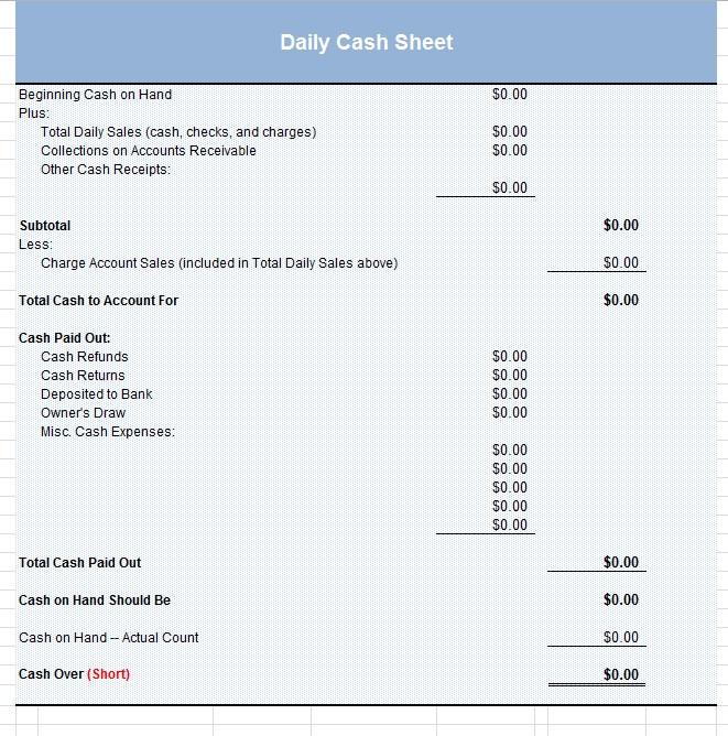 Daily Work Cash Sheet Template