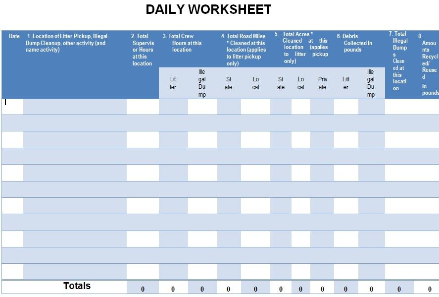 Daily Worksheet