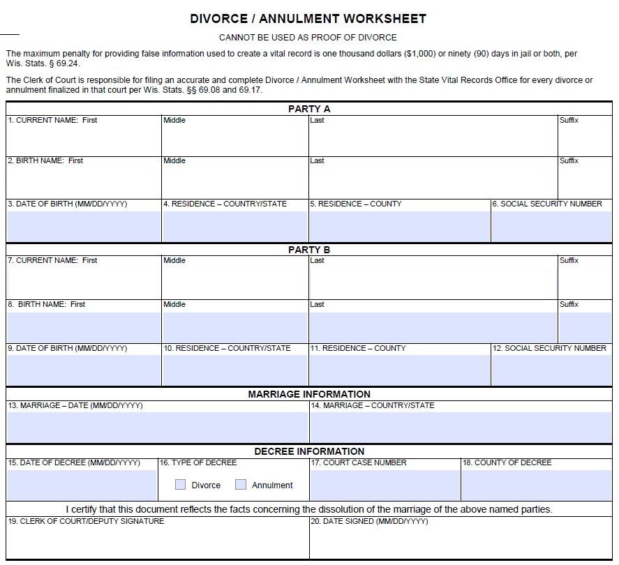 Divorce Worksheet Template 3