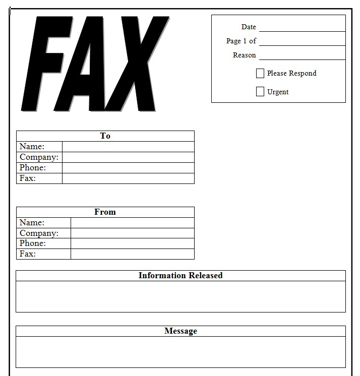 Doctor Office Generic Fax Cover Sheet Template Word Doc