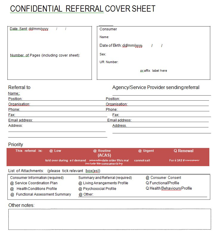 Eastern Health Confidential Referal Cover Sheet
