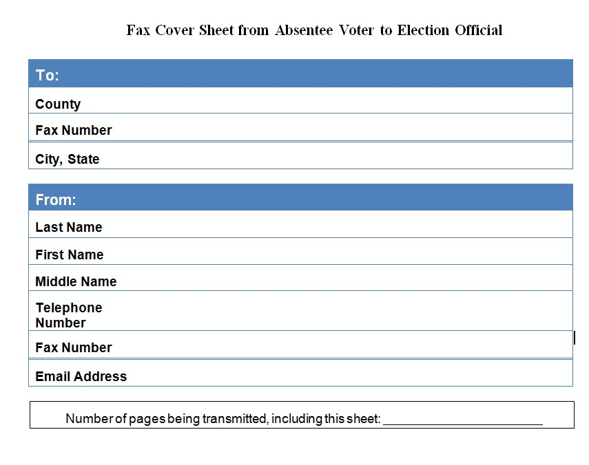 Election Transmission Fax Cover Sheet