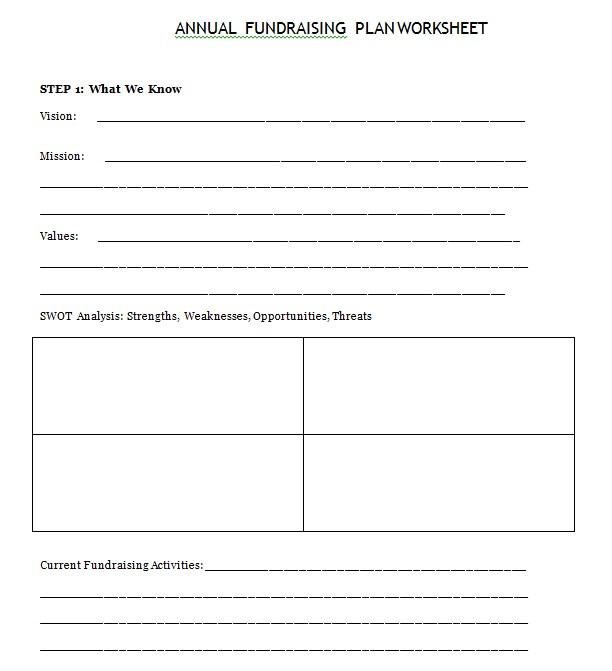 Elegant Fundraiser Worksheet Template
