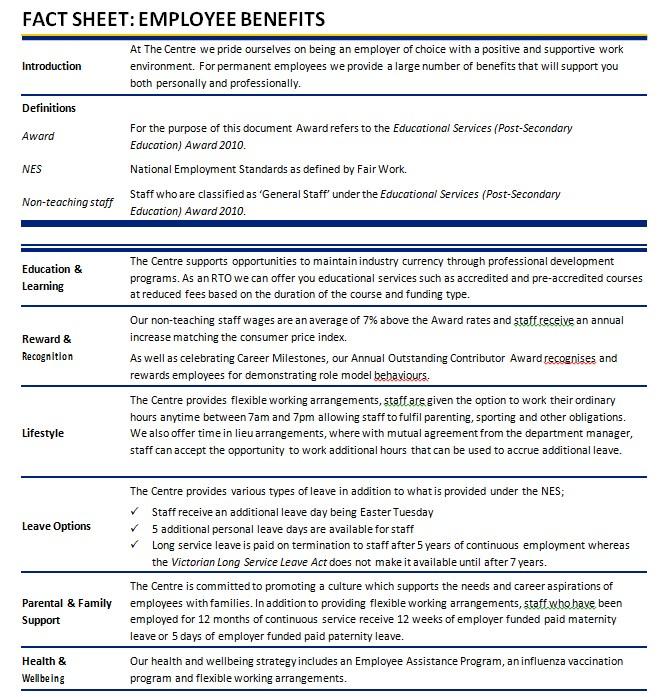Employee Benefits Fact Sheet