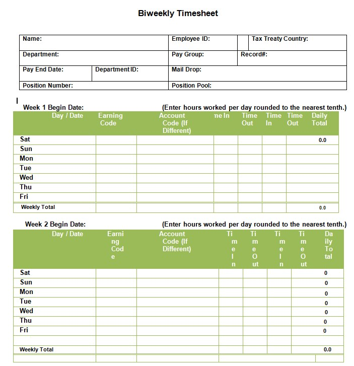 Employee Bi Weekly Timesheet Template in PDF