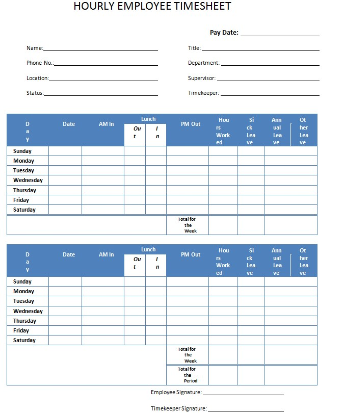 Employee Hourly Timesheet Template in PDF