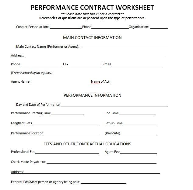 Employee Performance Contract Worksheet
