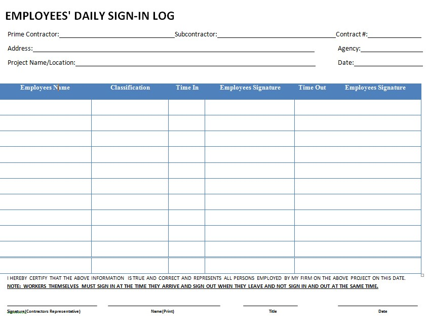 Employee Sign In Log Sheet Template