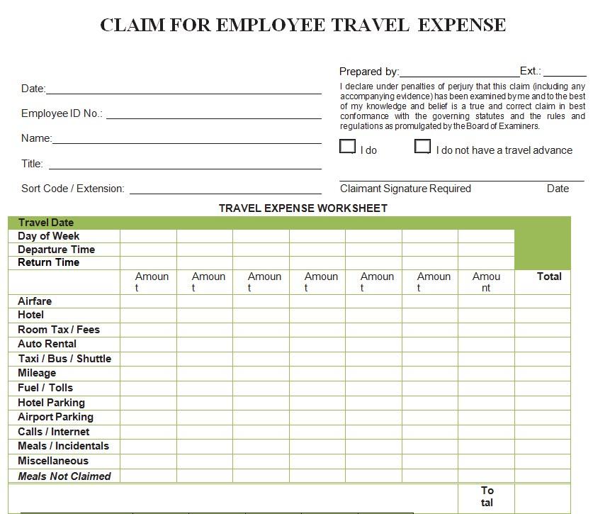 Employee Travel Expense Sheet