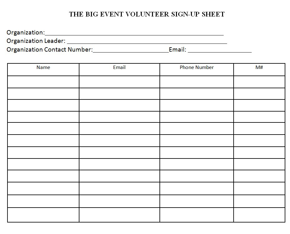 Event Volunteer Sign In Sheet Printable