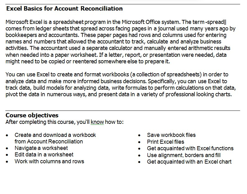 Excel Basics for Account Reconciliation