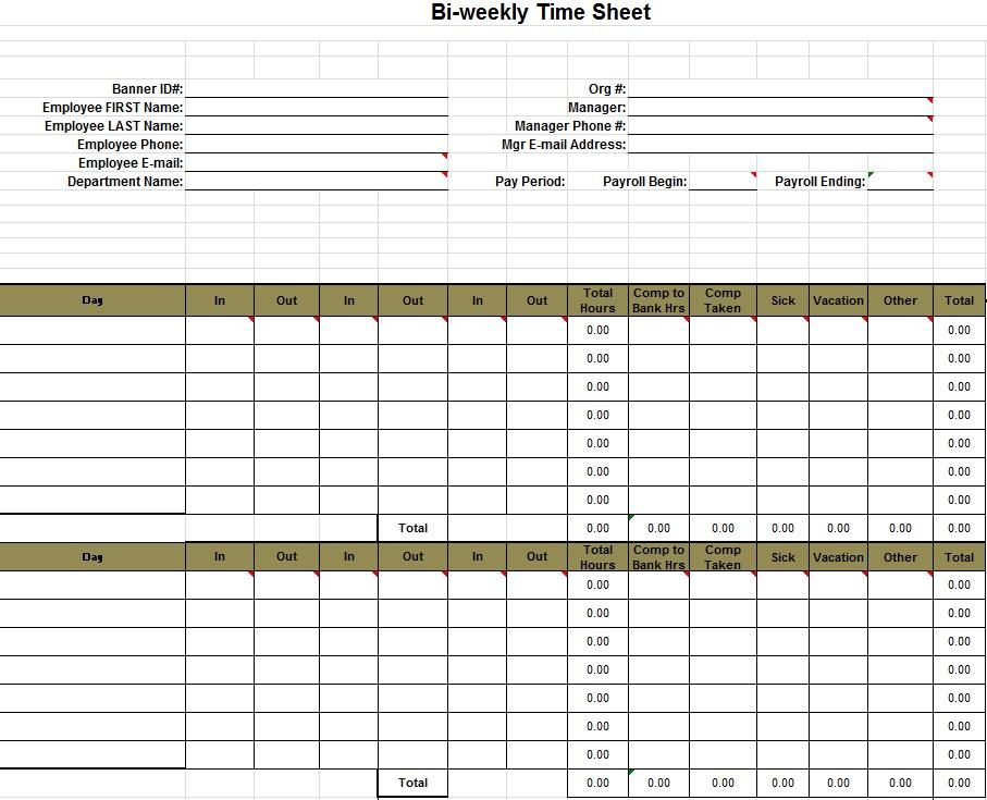Excel Biweekly Timesheet Template