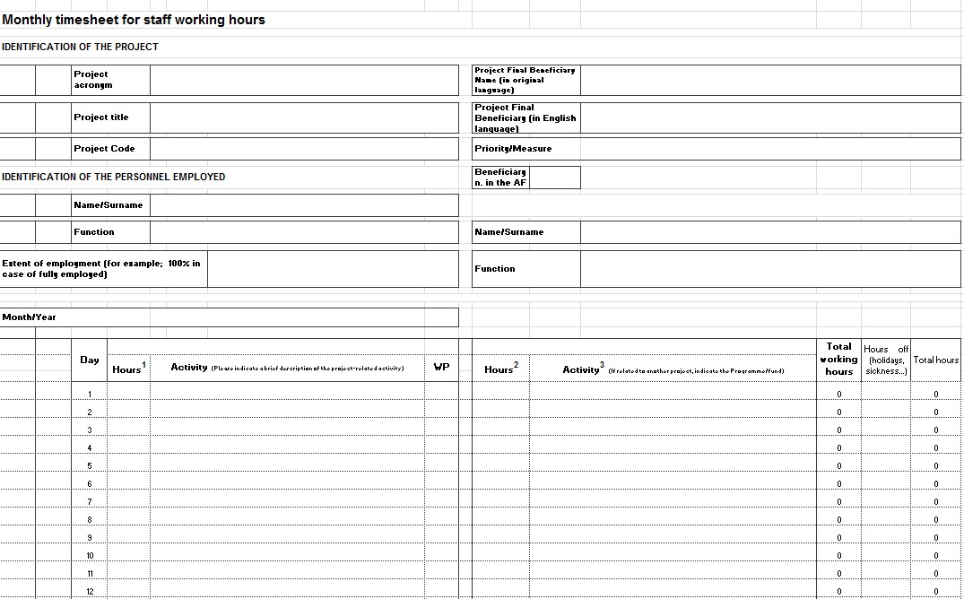 Excel Project Timesheet Template