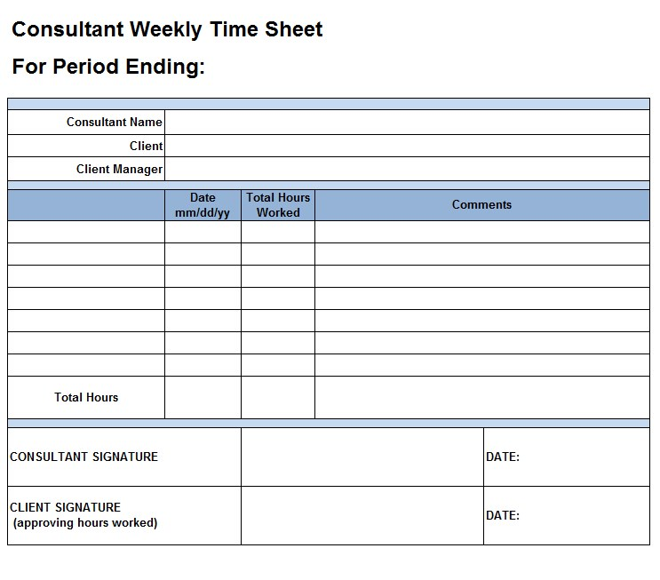 Excel Timesheet Template Consultant