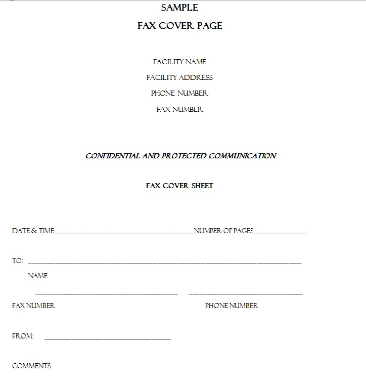 Faxing Protected Health Information Fax Cover Sheet
