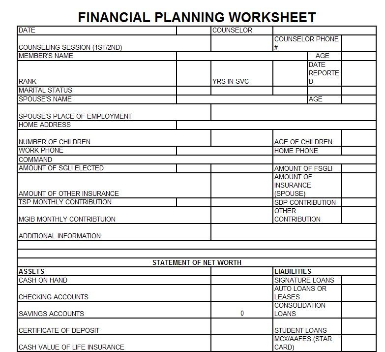 Financial Planning Worksheet Template
