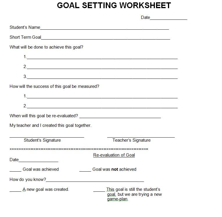 Free Goal Setting Worksheet Template Download 1