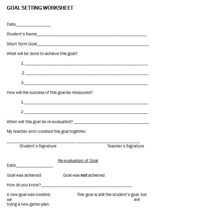 Free Goal Setting Worksheet Template Download