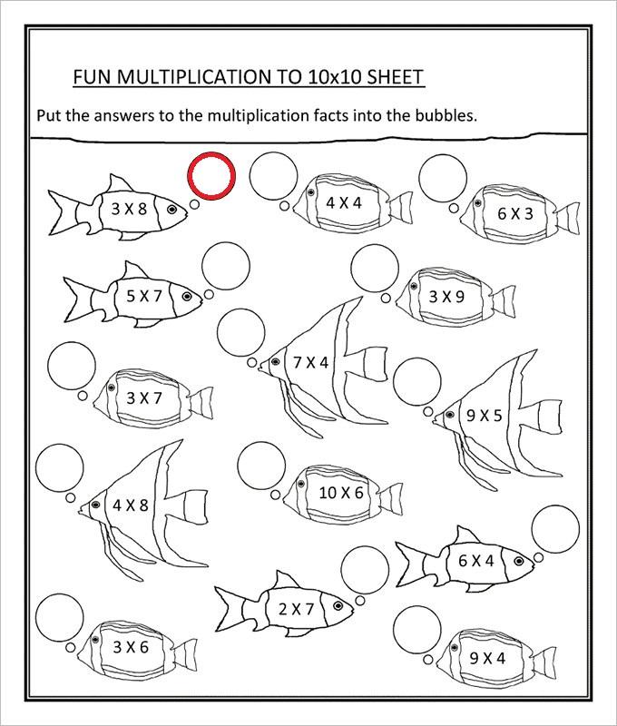Fun Multiplication Math Worksheet Template