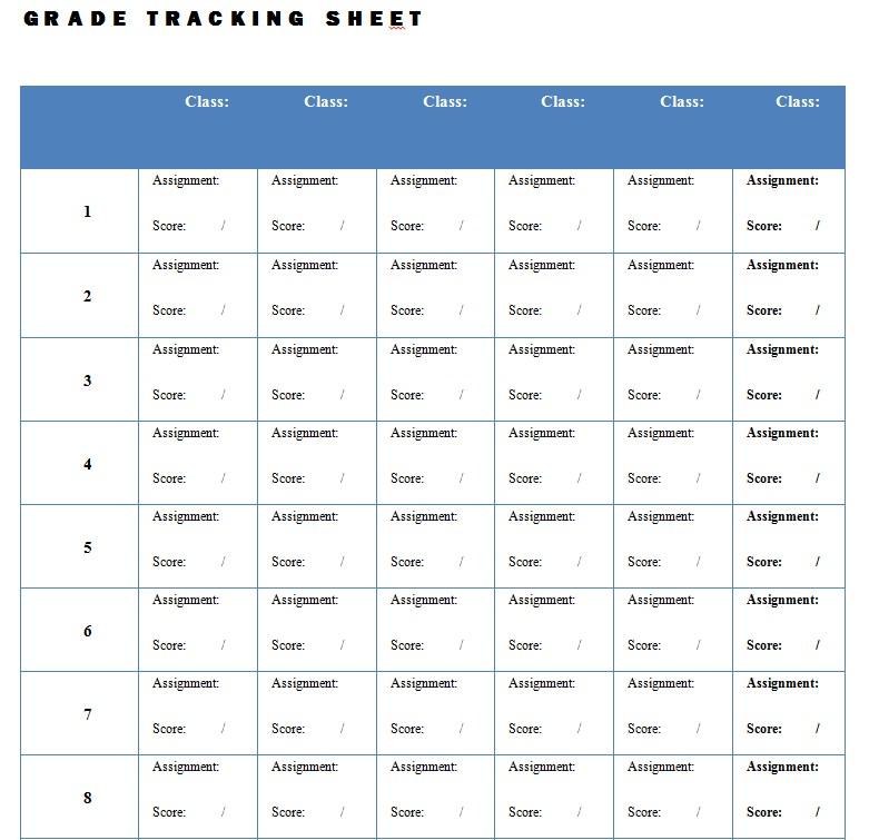Grade Tracking Sheet